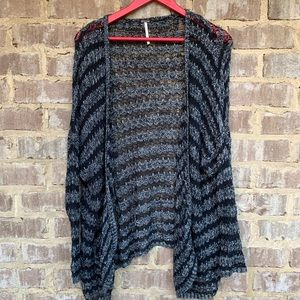 Free people black and gray loose fitting sweater